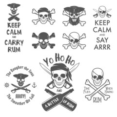 Set of pirate themed design elements
