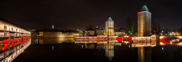Panorama of Ponts couverts in Petite France district, Strasbourg