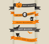 Happy Halloween - set of ribbons and icons
