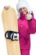 Woman with snowboard giving thumbs up