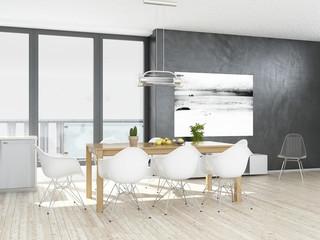 Modern white kitchen interior with wooden floor