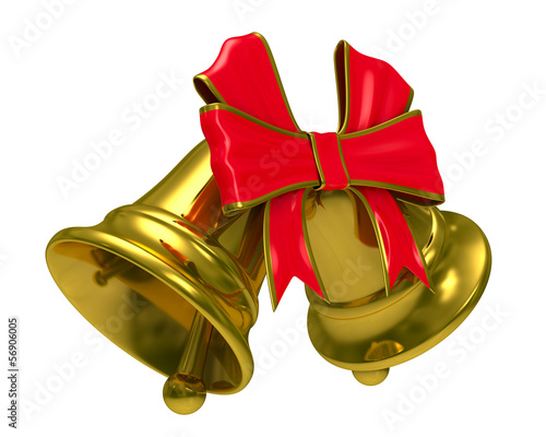 Two gold hand bell on white background. Isolated 3D image