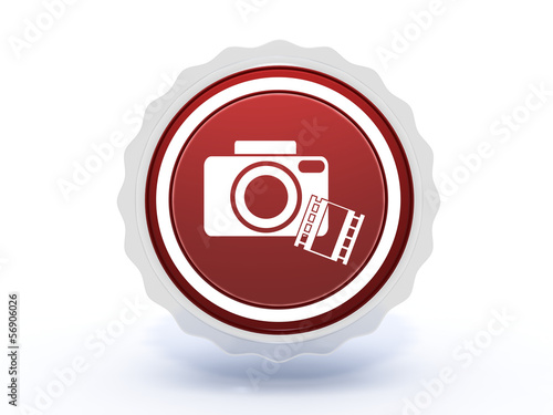 camera star icon on white background