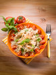 barley risotto with fresh salmon and tomatoes