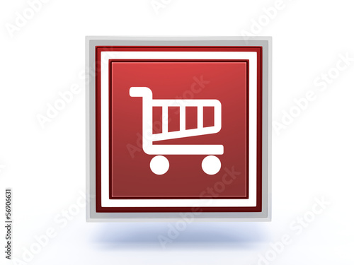 shopping cart rectangular icon on white background