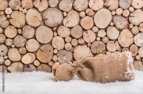 weihnachten sack hintergrund holz