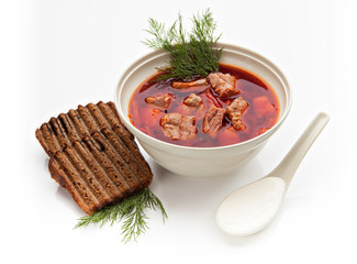 Ukrainian borsch, red-beet soup