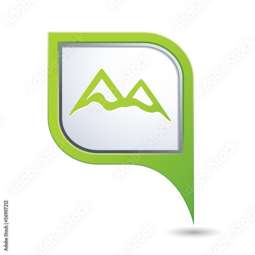 Map pointer with mountain icon