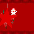 Santa Sitting On Red Star & Symbols Red Dots