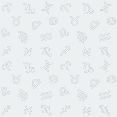 Abstract seamless background with Zodiac signs pattern.