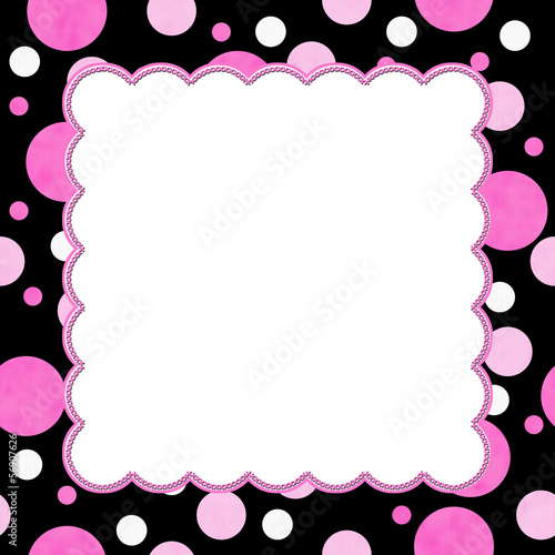 Pink and Black Polka Dot background for your message or invitati