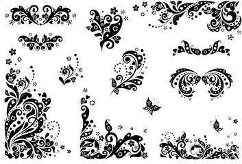 Vintage design elements (black and white)