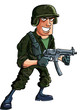 Cartoon soldier with sub machine gun