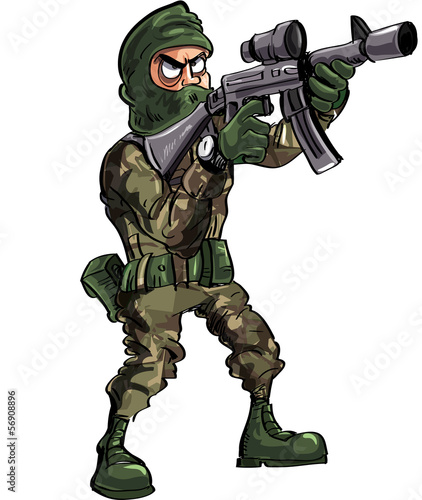 Cartoon soldier with gun and balaclava
