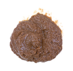 A glob of anchovy paste sliding down white background