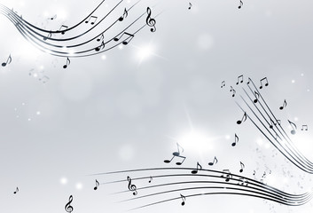 Music Notes Black and White Background