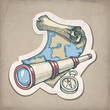 Vector illustration of spyglass, map and compass
