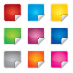 Cena, promocja lub bestseller etykieta, sticker, różne kolory
