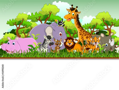 cute animal cartoon with forest background