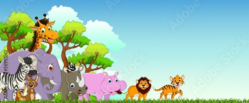 animal cartoon with forest background