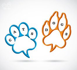 Cat and Dog paw text boxes