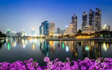 Bangkok city downtown at night with Bougainvillea flower foregro