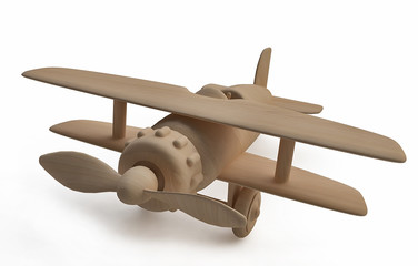 Toy Wooden Airplane in 3d