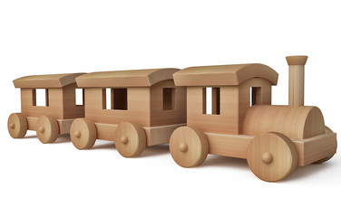 Toy Wooden Train in 3d