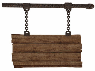 3d Old Wooden Sign-board Hanging on Chains