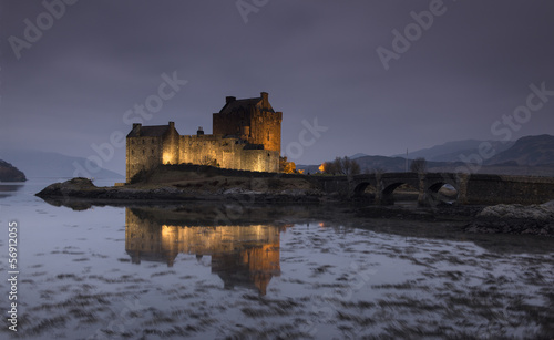 Festive lighting of Eilean Donan castle