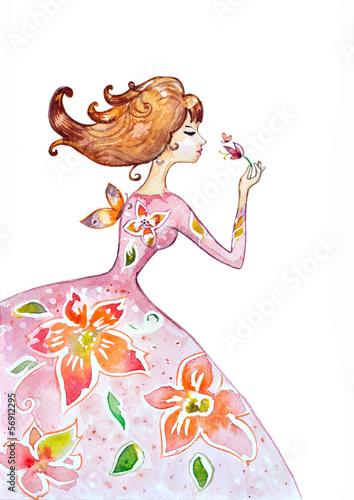 Foto op Canvas Bloemen vrouw watercolor painting of girl