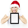 Voucher on tablet pc for christmas with pretty woman