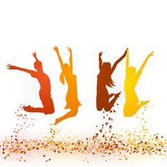 Springen Menschen Herbst Vektor