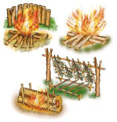 Touristic campfires set