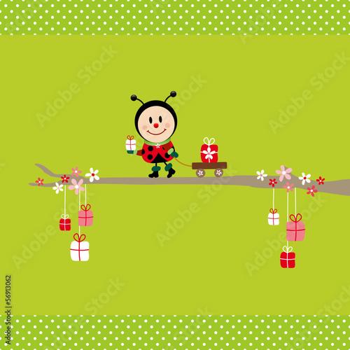 Ladybeetle Gift Pulling Handcart Tree Green Dots