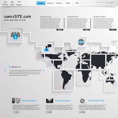 Business abstract website template design with squares world map