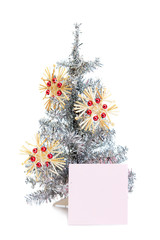 Beautiful toy fir tree with toys and sticker