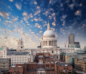London, UK. Wonderful aerial view of Saint Paul Cathedral and su