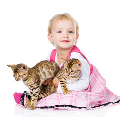 little girl holding two cats. isolated on white background