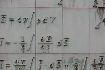 Mathematical formula on a facade of a building in Warsaw,