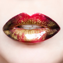 Passionate red shiny lips