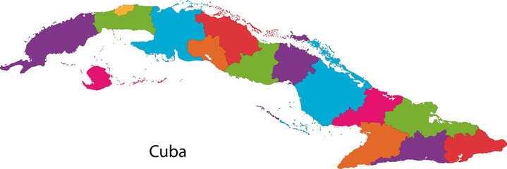 Colorful Cuba map