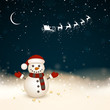 Vector Illustration of a Small Snowman in a Winter Landscape