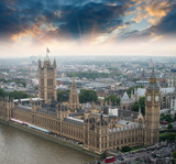 London, UK. Houses of Parliament and Big Ben, beautiful aerial v