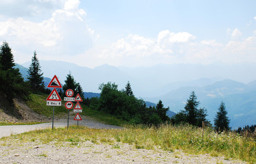 Road Signs at Top of Mountain