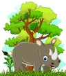 rhino cartoon with forest background