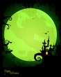Vector Illustration of a Green Halloween Background