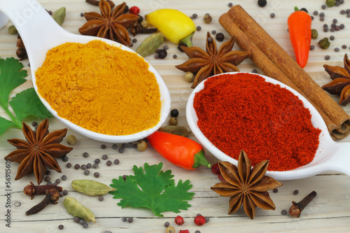 Colorful selection of Indian spices