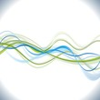 Blue and green vector waves background