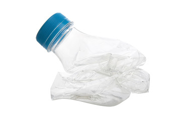 Bottle of pet Milk empty on the white